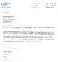 ASME – APPOINTMENT LETTER