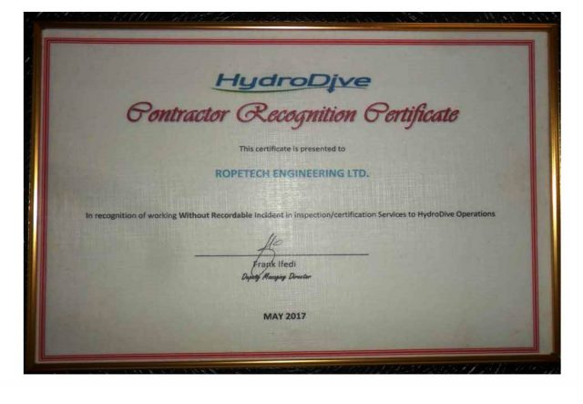 HYDRODIVE AWARD – Contractor Recognition Cerificate